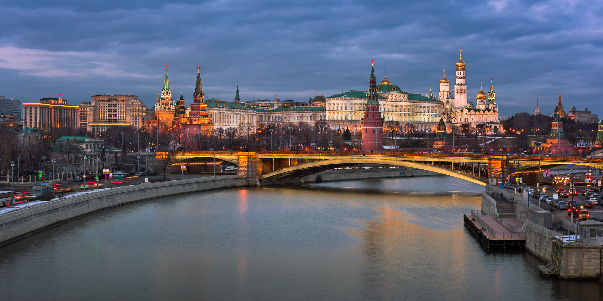 Kremlin and Bolshoy Kamenny Bridge in the Evening, Moscow, Russia