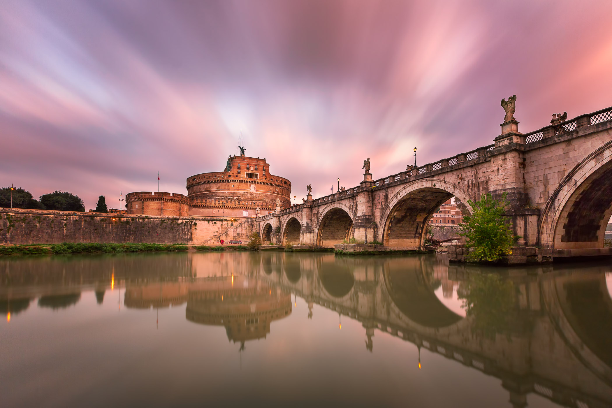 Ponte Sant Angelo and Castel Sant Angelo in the Morning, Rome, Italy