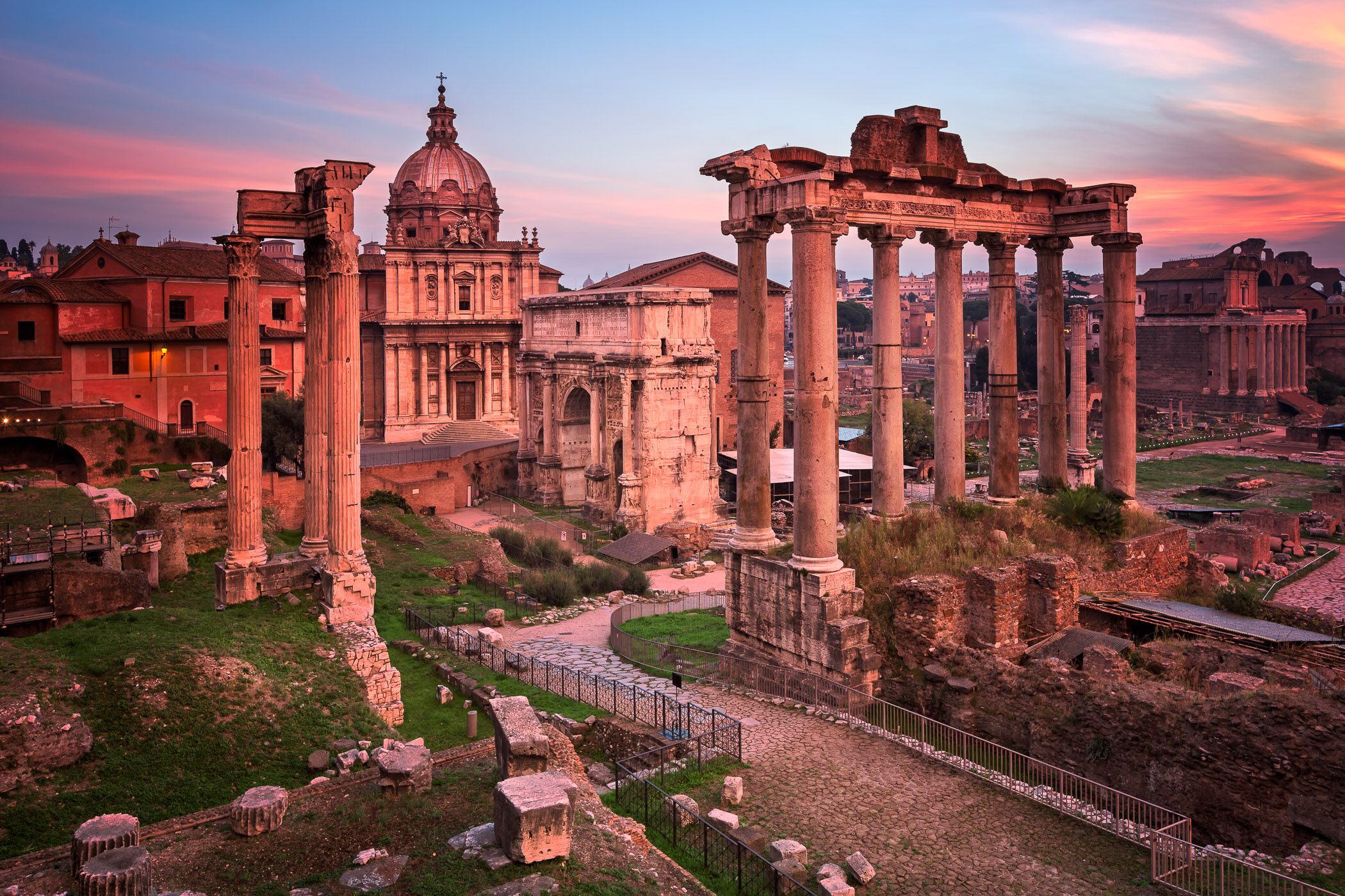 Roman Forum (Foro Romano) in the Morning, Rome, Italy