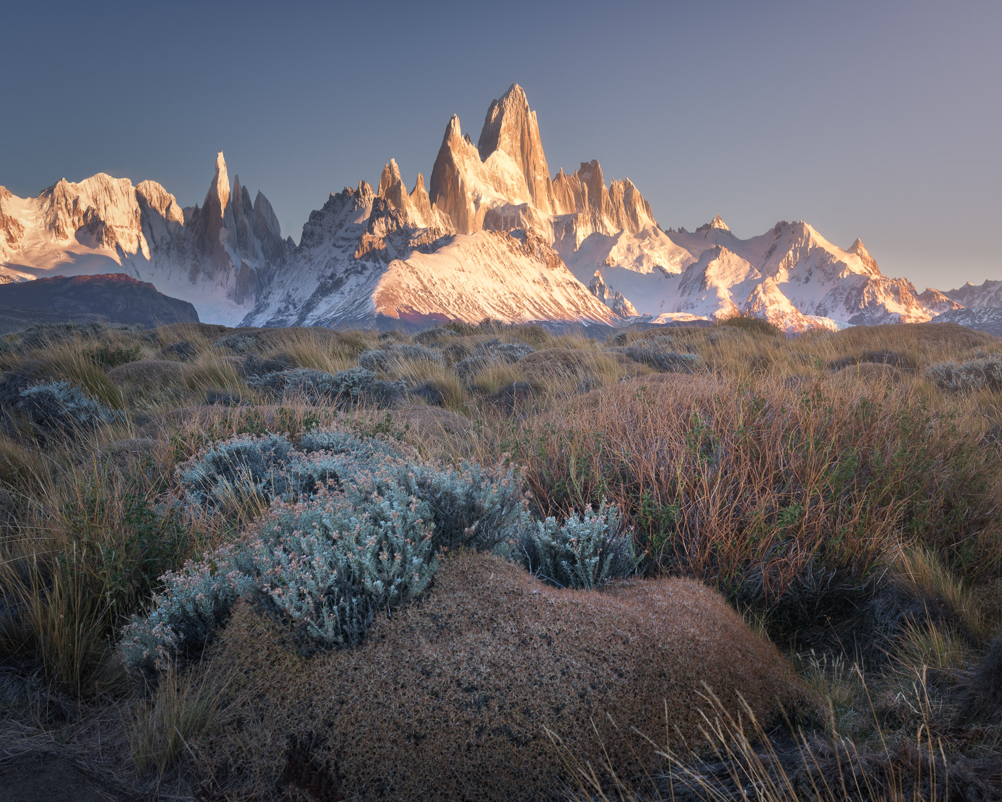 Fitz Roy and Cerro Torre in the Morning, Los Glaciares National Park, Argentina